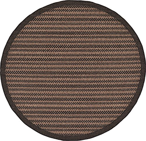 Unique Loom Outdoor Border Collection Striped Casual Transitional Indoor and Outdoor Flatweave Brown  Round Rug (6' 0 x 6' 0) ()