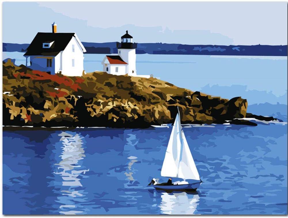kaxiou Una Vista del Puerto Paisaje DIY Pintura Digital por números Arte Moderno de la Pared Pintura al óleo Decoración para el hogar-40X50Cm Sin Marco