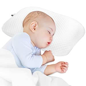 BAMMAX Newborn Pillow, Baby Newborn Pillow Flat Head, Infant Sleeping Pillow, Soft Breathable Memory Foam Baby Head Shaping Pillow Prevent Infant Flat Head Symptom Head Support for Baby 0-12 Months