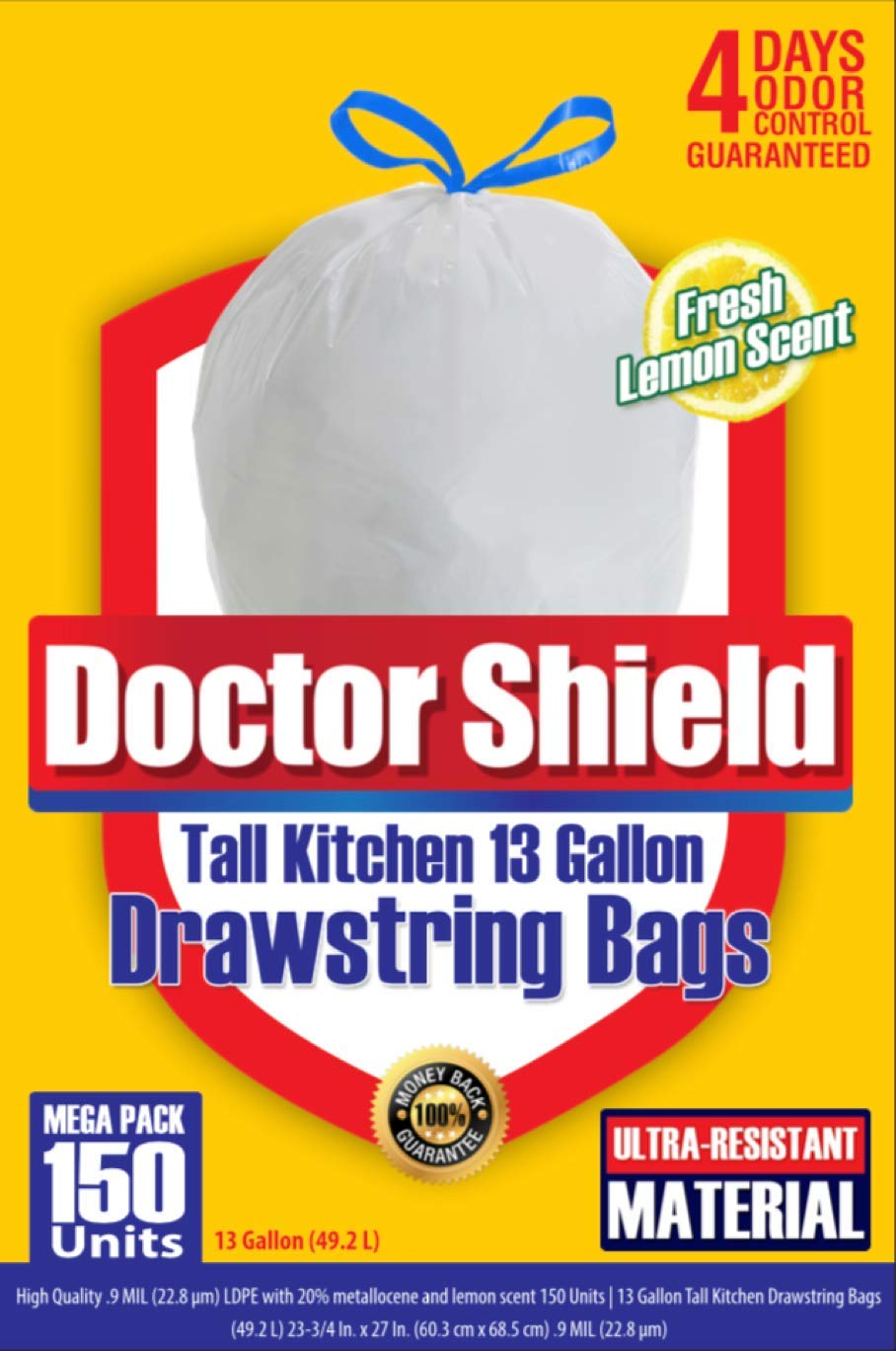 13 Gallon Trash Bag Garbage Bag Kitchen Trash Can Liners for Dumpster Bin 150 Count - Strong White Drawstring Odor Shield Bags for Refuse Disposal