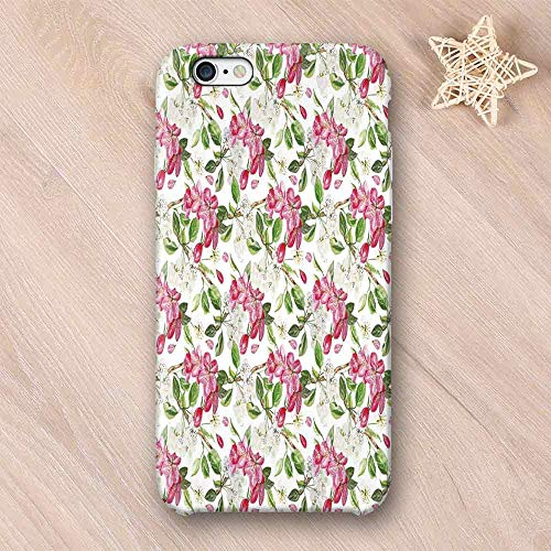 (Watercolor Elegant Compatible with iPhone Case,Garden Pattern with Apple and Peach Tree Branches Japanese Botany Foliage Decorative Compatible with iPhone 6/6s,iPhone 6/6s)