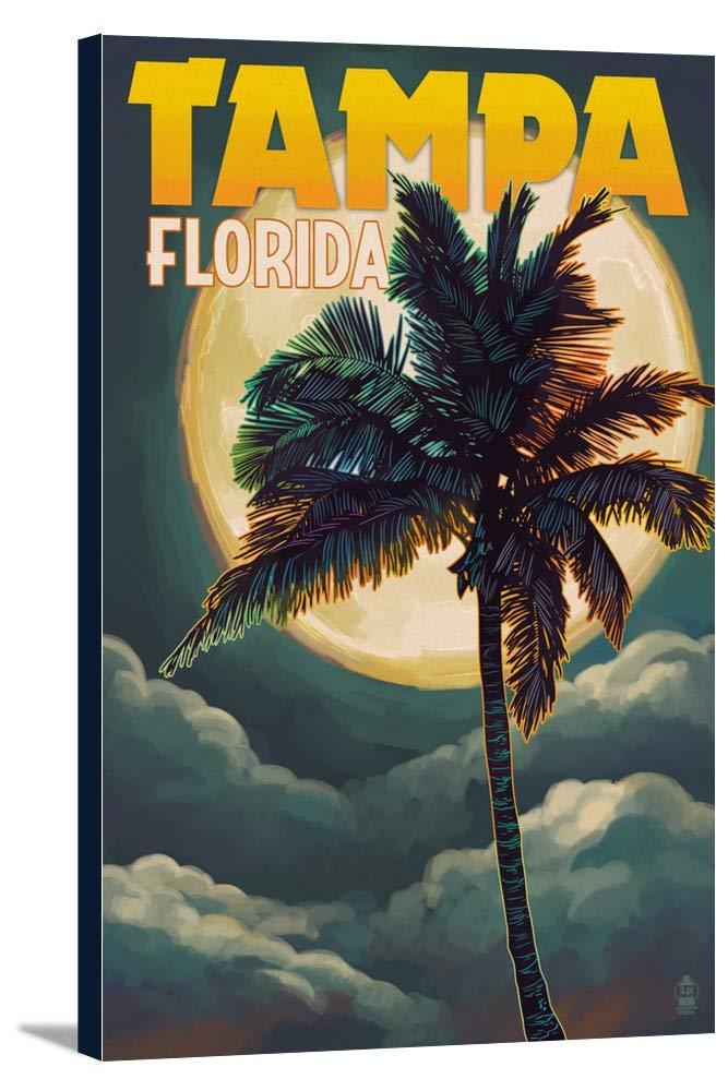 タンパ、フロリダ州 – Palms and Moon 12 x 18 Gallery Canvas LANT-3P-SC-44340-12x18 B018P4HJNI  12 x 18 Gallery Canvas