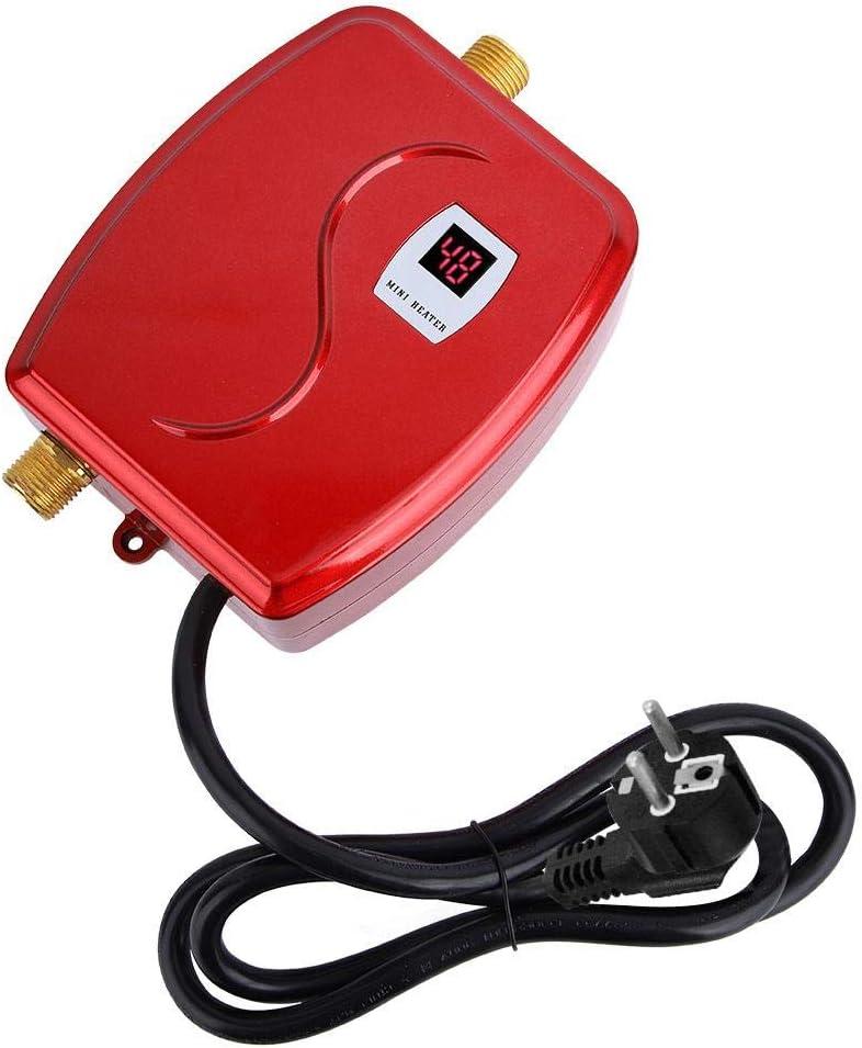 Duokon Calentador de Agua, 220V 3800W Mini Calentador de Agua instantáneo instantáneo sin Tanque eléctrico Baño Cocina Lavado Enchufe de la UE(Rojo)