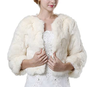 23c3a1fecb1d8 ICEGREY Women's Winter Faux Fur Jackets for Wedding Evening Party Bride  Coats Ivory at Amazon Women's Coats Shop
