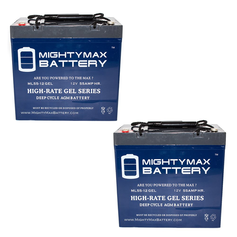 12V 55AH GEL Battery for Pride Mobility Jazzy 600/XL, 614/HD - 2 Pack - Mighty Max Battery brand product