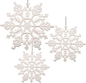White Glittered Snowflakes - Pack of 42 Snowflakes Covered in White Glitter - Assorted Sized of Small, Medium and Large Hanging Snow Flakes - Christmas Snowflakes