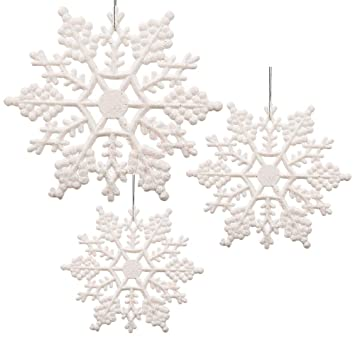 Christmas Snowflakes.Banberry Designs White Glittered Snowflakes Pack Of 42 Plastic Snowflakes Covered In White Glitter Assorted Sized Of Small Medium And Large