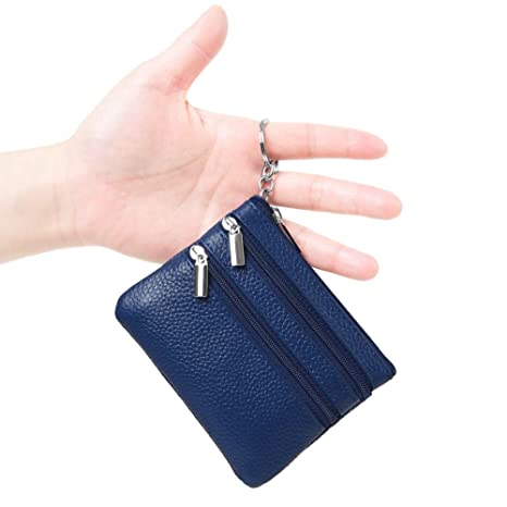 Womens Genuine Leather Coin Purse Mini Pouch Change Wallet with Key Ring