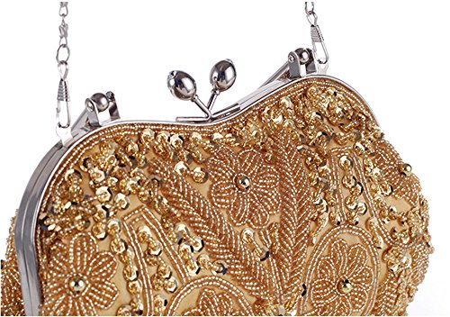 Lock Purse Vintage Metal Bag Jewels Party handle Top Silver Kissing Beaded Floral Evening Prom Clutch 0T0wa