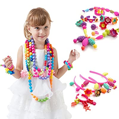 Pop Beads - Pop Arty Snap Together Beads for Kids Toddlers Creative DIY Jewelry Set Toys - Making Necklace, Bracelet and Ring - Ideal Christmas & Birthday Gifts for Girls