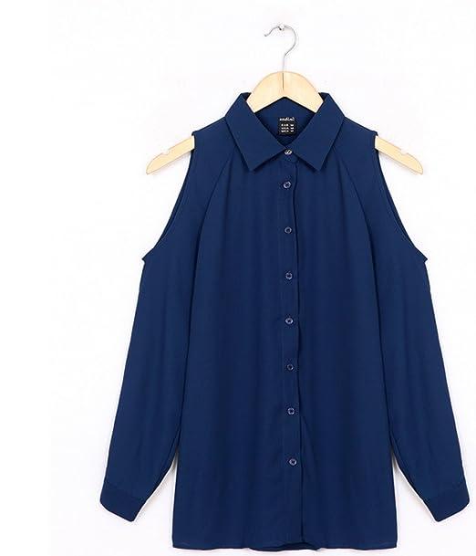 Blusa Cilier en varios colores y tallas Moda Mujer Temporada (S, Azul)