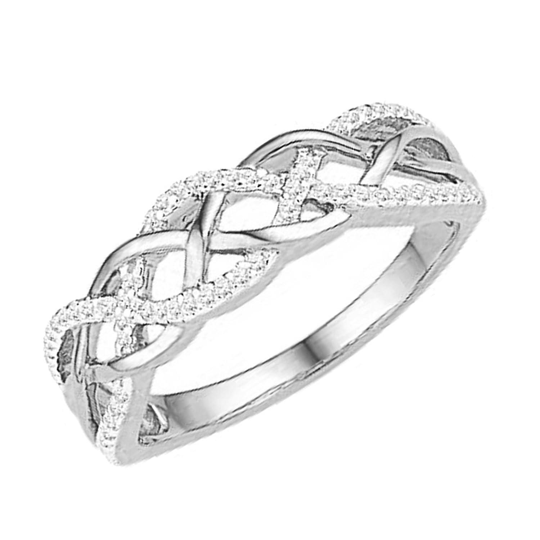 0.20 Carat (ctw) 10K Gold Round Diamond Ladies Swirl Fashion Right Hand Ring 1/5 CT