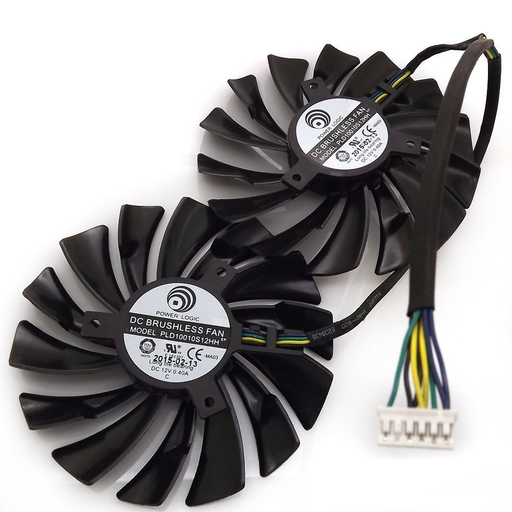 Replacement Video Card Cooling Fan For GTX980 GTX970 GTX960 Graphics Card Fan PLD10010S12HH 12V 0.4A 95mm 5 Wire 6 Pin by Tebuyus