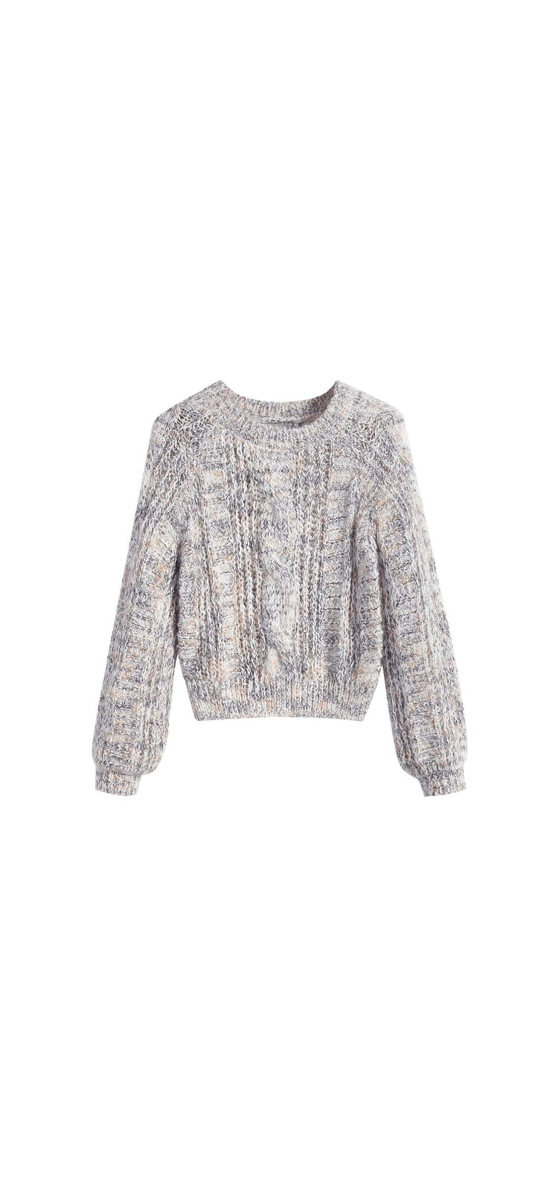 Women's Heathered Cable Knit Chunky Sweater Crew Neck Top