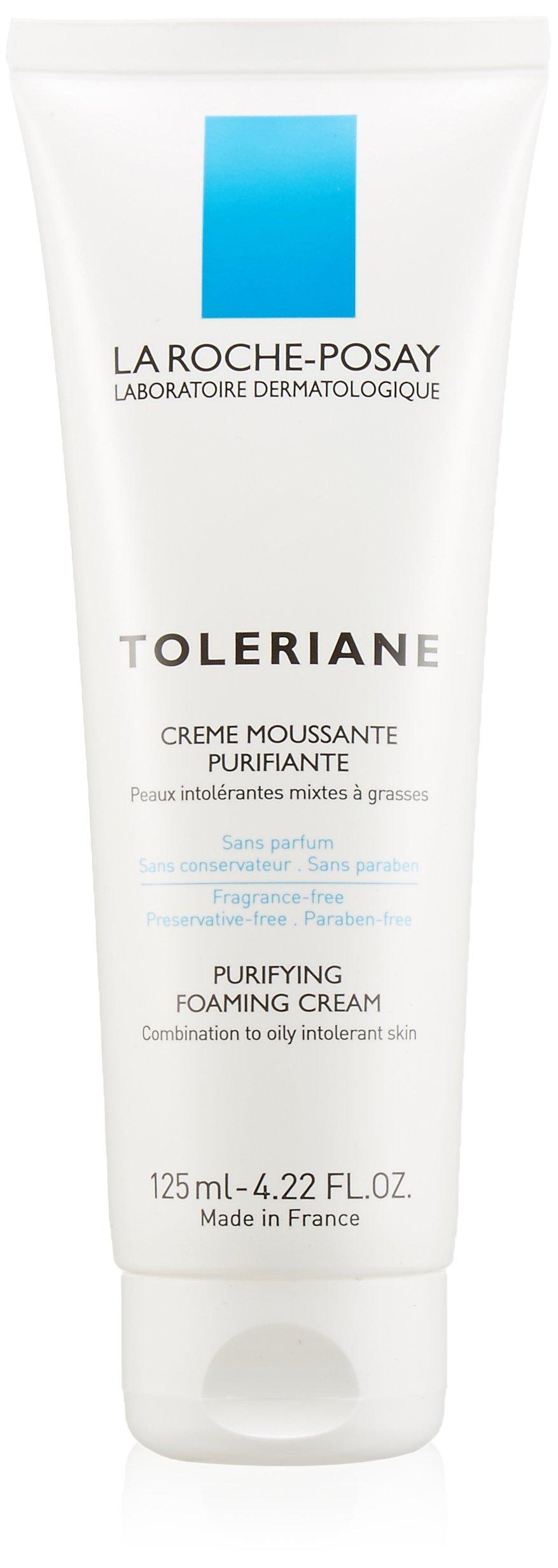 La Roche-Posay Toleriane Purifying Foaming Cream Facial Cleanser for Sensitive Skin with Glycerin, 4.22 Fl. Oz.