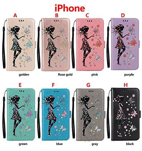 Funda iPhone 7,Funda iPhone 6Plus/6S Plus, Funda iPhone 5/5S/SE,Protector de Pantalla de Slim Case Estilo Billetera con Ranuras para Tarjetas, Soporte Plegable, Cierre Magnético(LXT-04) H