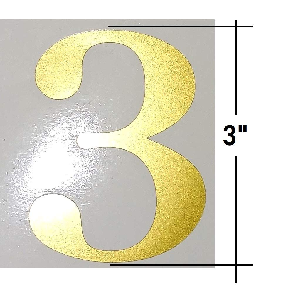 3'' Metallic Gold Color, Classic Style Mailbox Numbers,Lot of 40 (4 of each  number form 0 to 9) 3 inch tall, Vinyl Mailbox Numbers,Doors,Tool