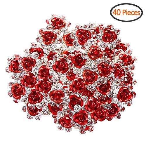 BETITETO U Shaped Flower Rhinestone Hair Pins Crystal Hair Accessories for Bridal Wedding/Party/Teen Sweet Sixteen (Red)