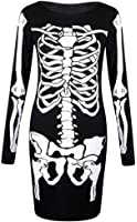 Forever Womens Long Sleeves Skeleton Print Halloween Bodycon Dress