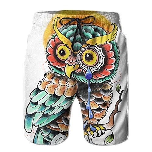 Men's Grumpy Wise Owl Brand New Beach Shorts