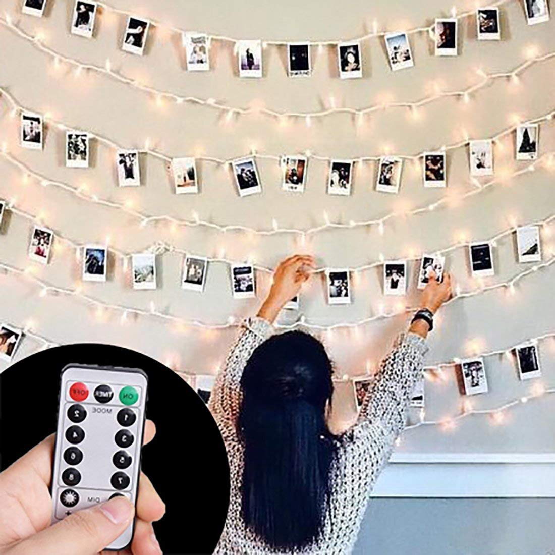 HAYATA ⭐️[Remote & Timer] 40 LED Wooden Photo Clips String Light Picture Display - 20ft Fairy Battery Operated Hanging Picture Frame for Party Wedding Dorm Bedroom Birthday Christmas Decorations by HAYATA