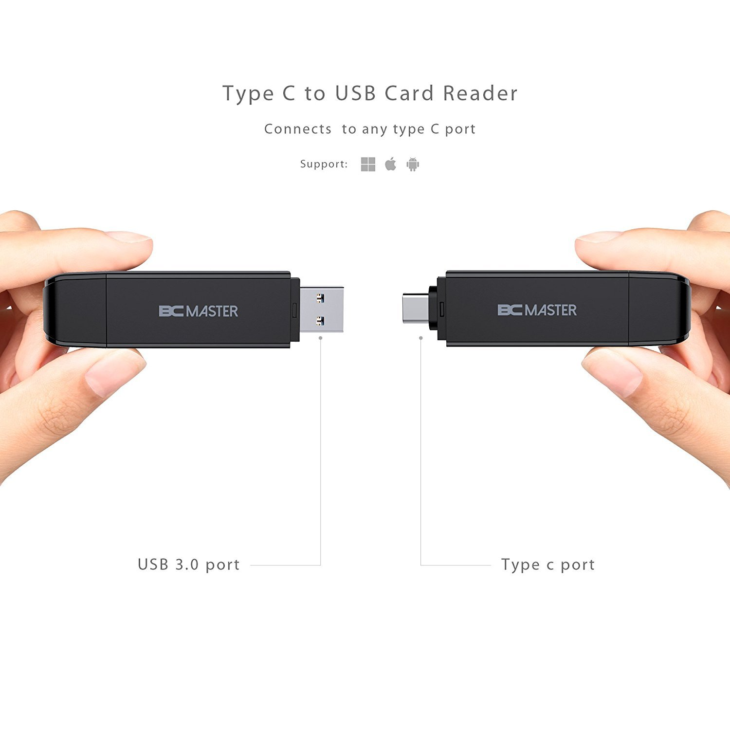 SD Card Reader Micro SD Card Reader for Macbook Mobile Phones SDHC, SDXC, 2 in 1, USB 3.0, Type C, OTG Adapter Memory Card Reader