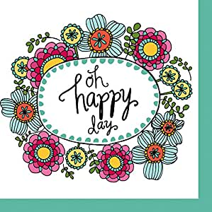 Cypress Home Oh Happy Day Paper Cocktail Napkin, 20 count