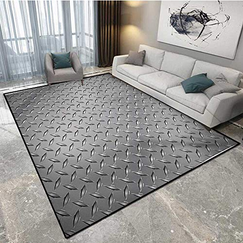 Chrome 10' Cover Plate - Grey Door Mat Indoors Cross Wire Fence Netting Display with Diamond Plate Effects Chrome Kitsch Motif Print Door Mats for Inside 6'6