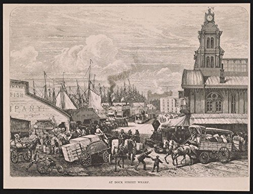 1880 Photo At Dock Street wharf / Schell & Hogan ; JH [monogram] sc. Print shows congestion of horse-drawn carts and wagons overburdened with merchanise on Dock Street, also handcarts, teamsters and l