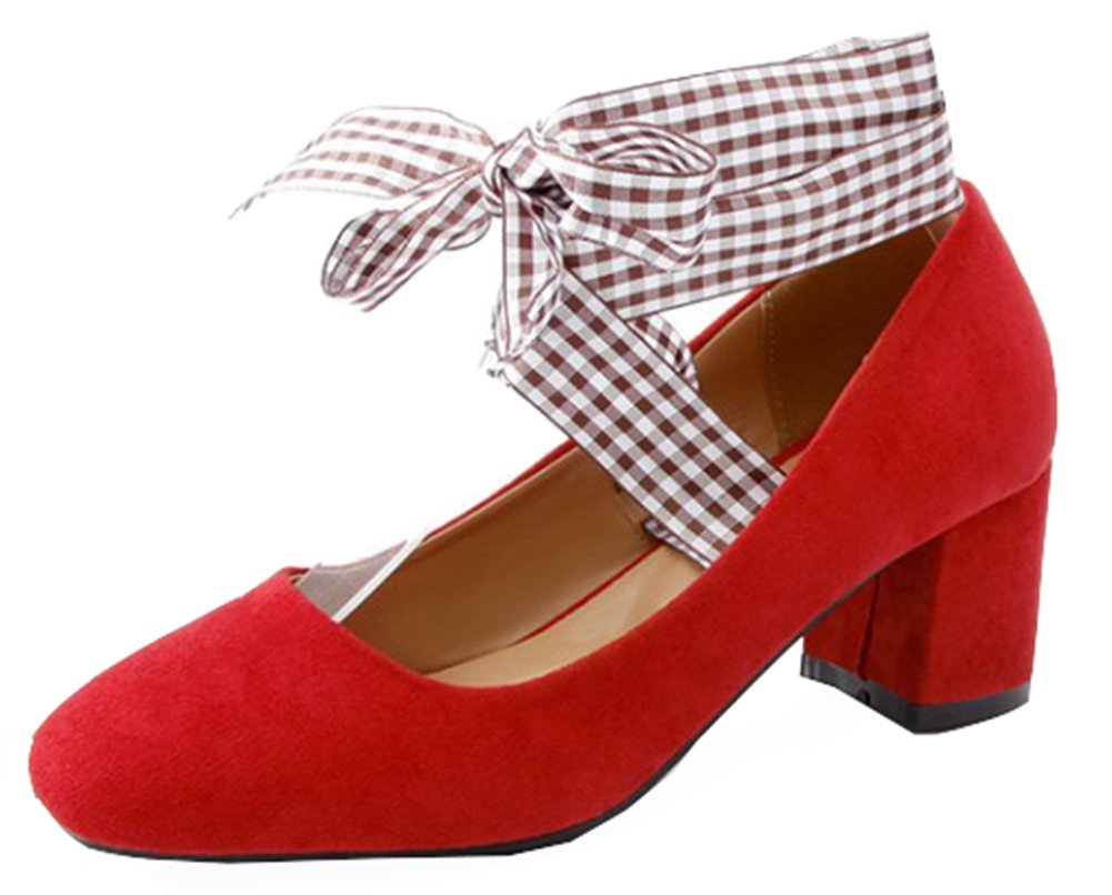 SHOWHOW Women's Lovely Faux Suede Self-tie Party Pumps Shoes Red 7 B(M) US