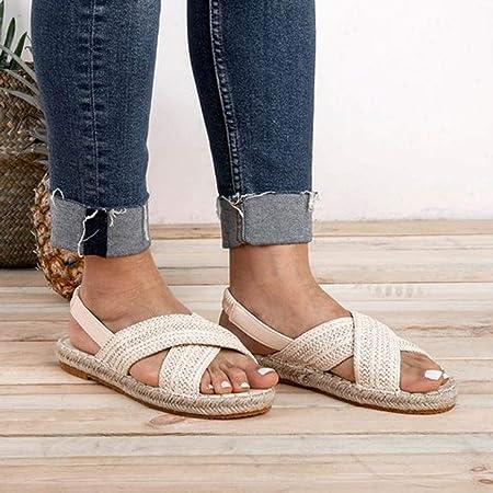 Sandalias Mujer Sandalias Mujer Verano 2019 Sandalias Planas Sandalias de Vestir Playa Chanclas para Mujer Zapatos Sandalias de Punta Abierta Roma Casual Sandalias Fiesta Cómodo Flip Flop vpass