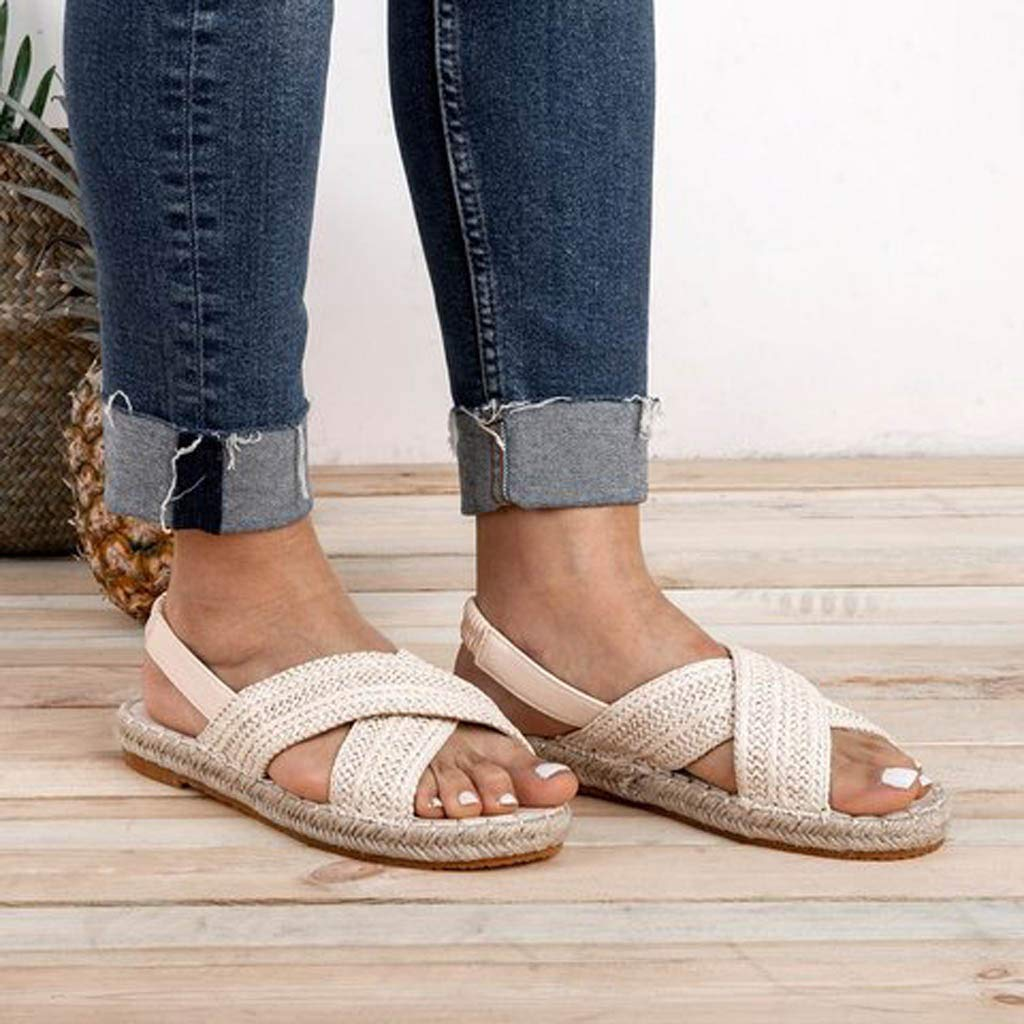 Newlyblouw New Women Flats Shoes Straw Hemp Rope Weave Sandals Ladies Summer Casual Roman Shoes Non-Slip Slippers