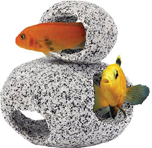 Penn Plax Stone Replica Aquarium Decoration Realistic Granite Look with Fish Hideaway 2 Piece Set Size Small/Medium