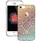 iPhone 5S Case, iPhone SE Case,ESR Hard PC Back Shell Skin Cover with Printed Pattern + TPU Bumper Edge for iPhone for iPhone 5S/SE/5 (Gold Henna)
