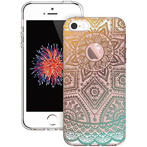 iPhone 5s Case, iPhone se Case, ESR Totem Henna Mandala Floral Pattern Design with Soft TPU Bumper+Hard PC Back Cover for iPhone 5S/SE/5 (Gold Henna) - Henna Phone Cases Iphone 5s