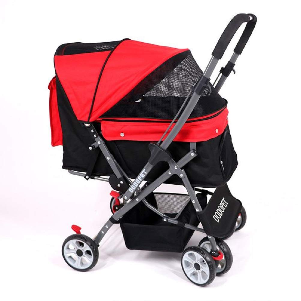 Red Wenrityent WENR® Pet Trolley Cats Dogs Carts Shockproof Stroller Adjustable Direction One-click Folding