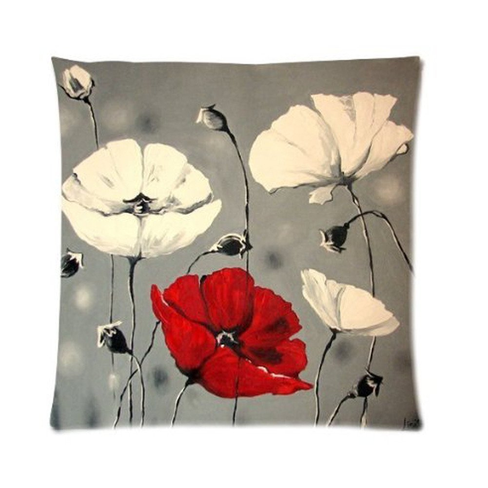 Awesome Flower Pattern Poppy Art Painting Custom Zippered Twin Sides Pillowcase Pillow Cases Cover Home Decorative 18 * 18 Inch by Generic