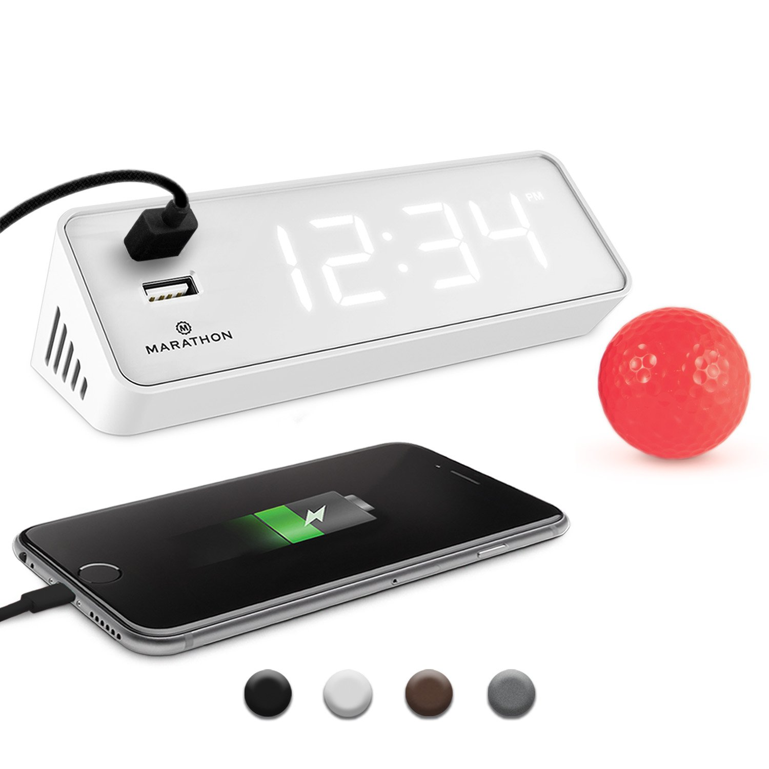 Marathon CL030055WH LED Alarm Clock Two Fast Charging, Front Facing USB Ports. Great Travelling. Hotel Commercial Grade (White)