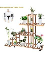 Soporte de Madera para Flores, 5 Niveles Estantería para Flores Estantería Decorativa de Macetas Plantas con Accesorio de Jardín para Uso Interior y Exterior, 95 × 96 × 25 cm