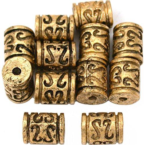15g Bali Barrel Beads Antique Gold Plate 8mm Approx 10