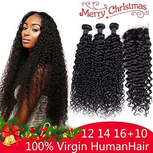 Brazilian Curly Hair 3 Bundles With Closure Virgin 8A Human Hair Weave Bundles with Free Part Closure Natural Color (12 14 16+10)