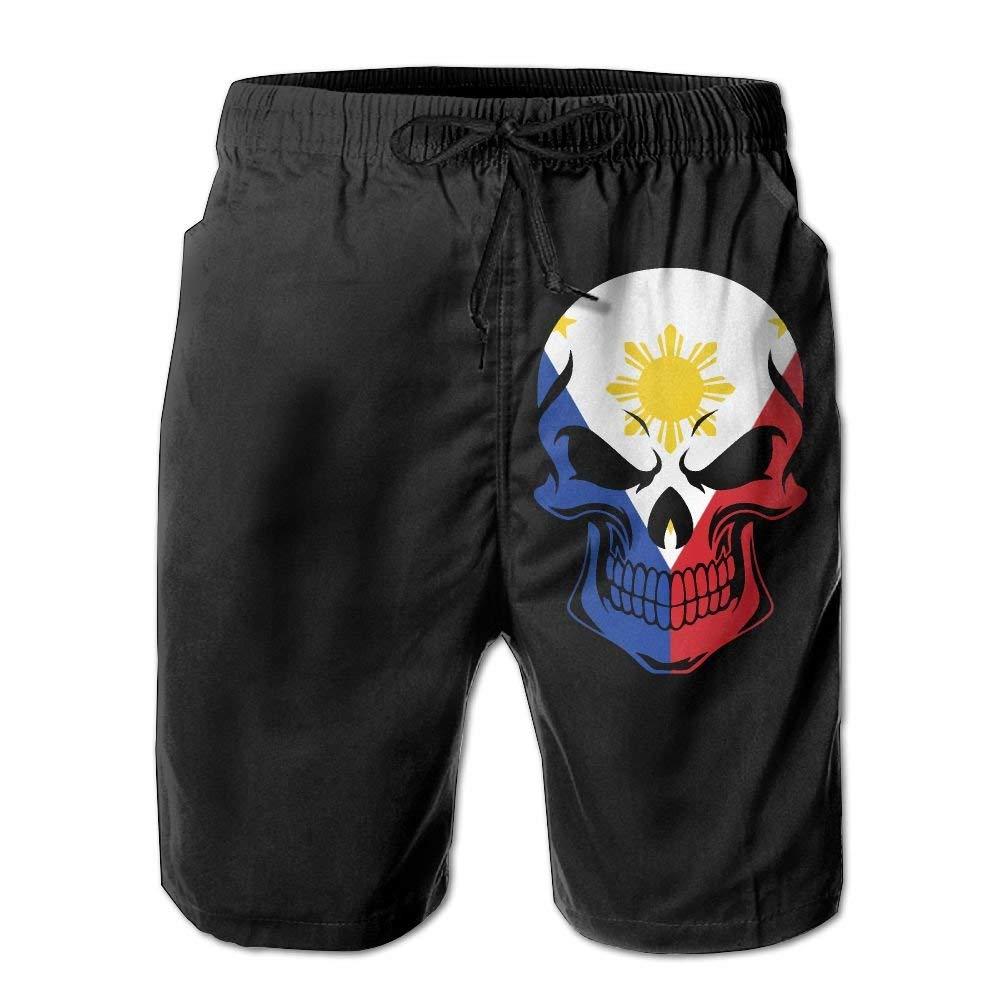 Filipino Flag Skull Mens Fashion Board//Beach Shorts Slim-Fit Beachwear with Pockets