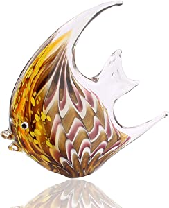 Hophen Tropical Angel Fish Art Glass Blown Handmade Sea Animal Figurine Sculpture Home Decor Collectible Statue Paper Weight Gift Ornament (Brown)