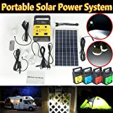 DODOING Solar Power Generator Portable kit, Solar Generator System for Home Garden Outdoor Camping, Power Mini DC6W Solar Panel 6V-9Ah Lead-acid Battery Charging LED Light USB Charger System