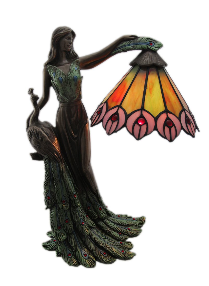 Resin And Glass Accent Lamps Lady Fowl And Her Peacock Art Nouveau Style Accent Lamp 12 X 15.5 X 7 Inches Multicolored by Zeckos