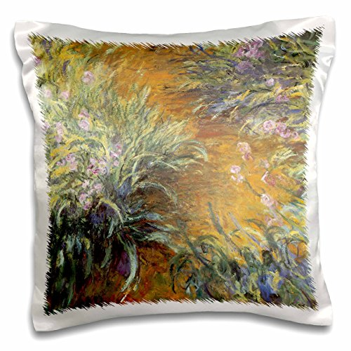 3dRose The Path Through The Irises by Claude Monet 1916-17-Pillow Case, 16 by 16