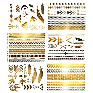 Premium Metallic Temporary Hair Tattoos - 75+ Contemporary Boho Shimmer Designs in Gold & Silver (Hazel Collection)