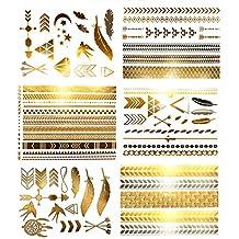 Metallic Bohemian Temporary Hair Tattoos - Over 75 Designs Gold Silver (6 Sheets) Terra Tattoos Hazel Collection