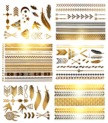 Metallic Bohemian Temporary Hair Tattoos - Over 75 Designs Gold Silver (6 Sheets) Terra Tattoos Hazel Collection ()