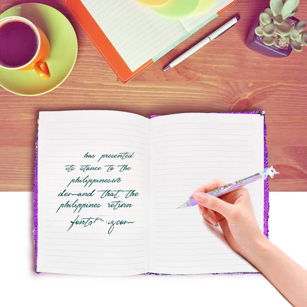 Flippy Sequin Journal Diario per ragazza Writing Cancelleria Forniture per studenti con un Sequin Unicorn regalo portachiavi Rainbow Unicorn Unicorn Quaderno Notebook A5 e penna Set per bambini